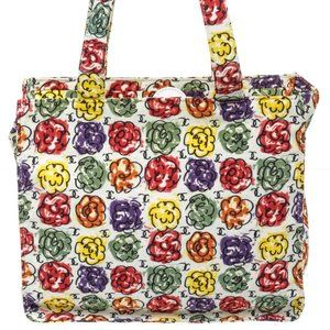 Chanel Ivory Multicolor Floral Print Camellia Tote